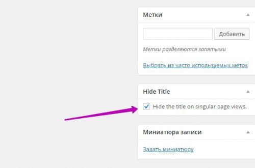 Скрыть заголовок в записи и на странице сайт wordpress плагин !