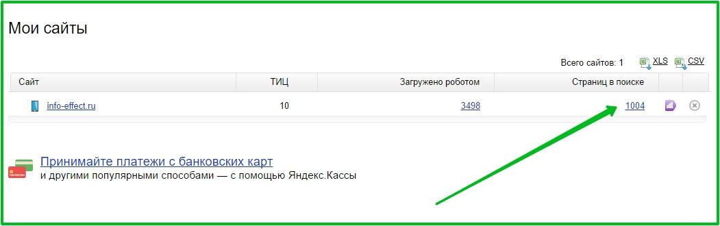 страниц в поиске Яндекс