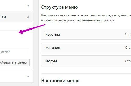 Как добавить записи и рубрики в меню сайта wordpress?