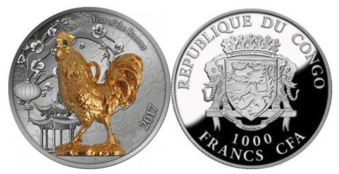 Монета Республики Конго «Год Петуха 3D»