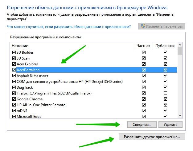 обмен данными с приложениями в брандмауэре windows