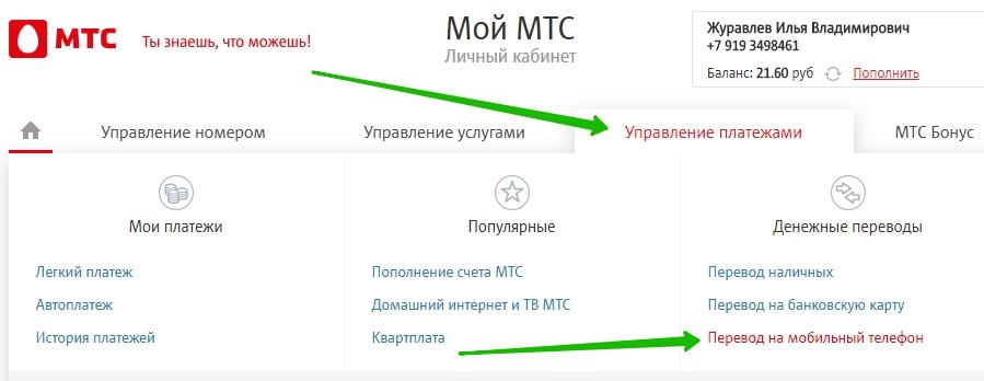 мобильные переводы мтс