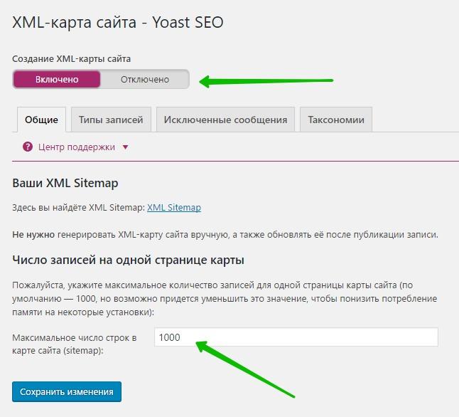 XML-карта сайта - Yoast SEO