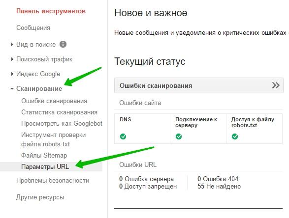 Сканирование - параметры URL