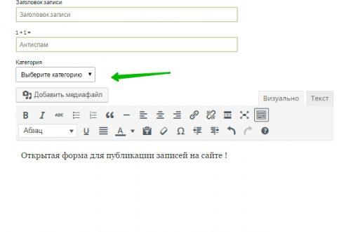 User Submitted Posts публиковать записи прямо с сайта wordpress (открытая публикация)