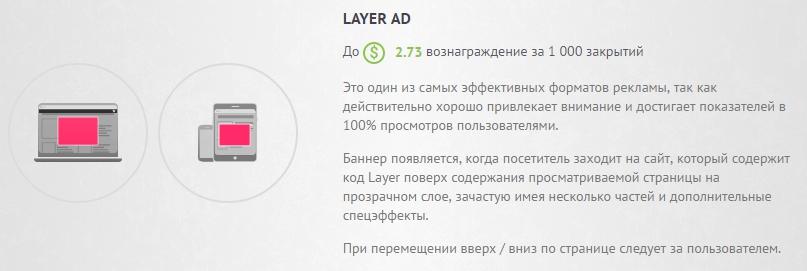 реклама layer ad доход