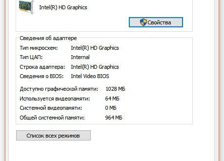 Свойства графического адаптера Windows 10