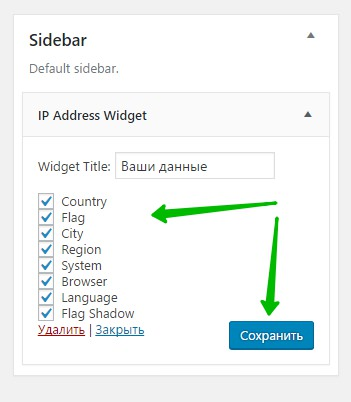Виджет IP адрес плагин WordPress