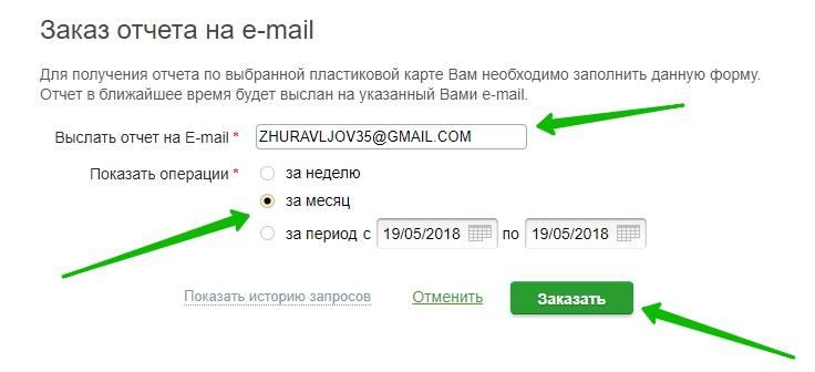 выписка на email сбербанк