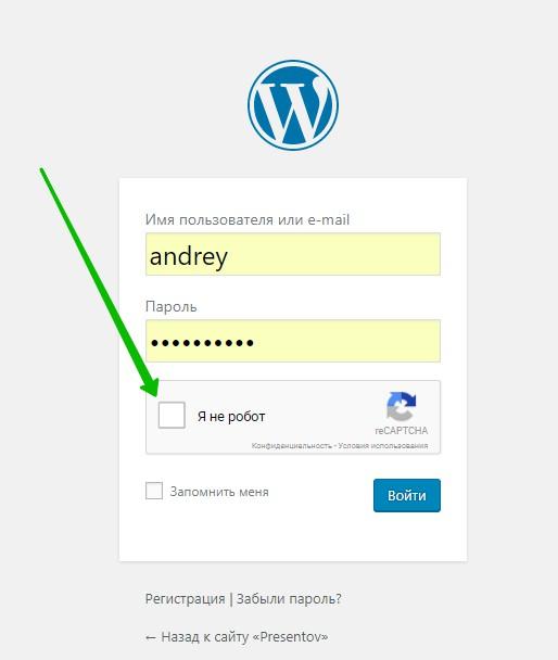 вход WordPress защита