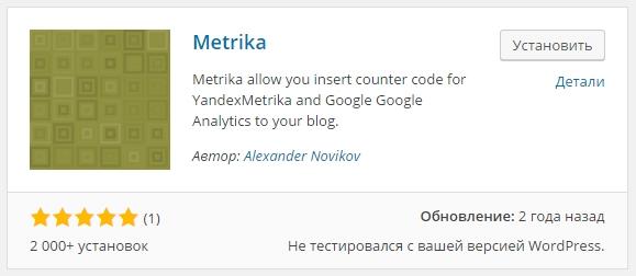 metrika плагин wordpress