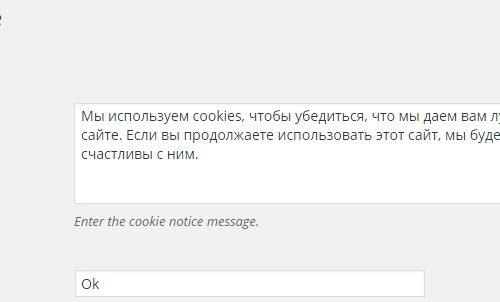 Предупреждение о использовании куки файлов на сайте wordpress