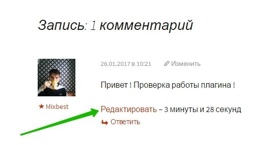 редактировать комментарии WordPress