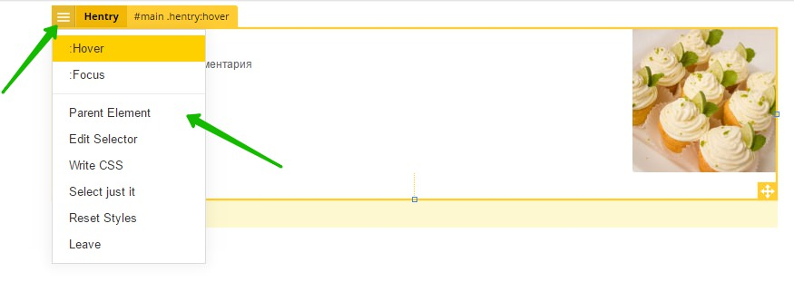 hover focus selector parent css edit wordpress
