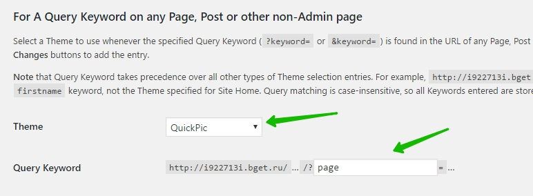 For A Query Keyword on any Page, Post or other non-Admin page