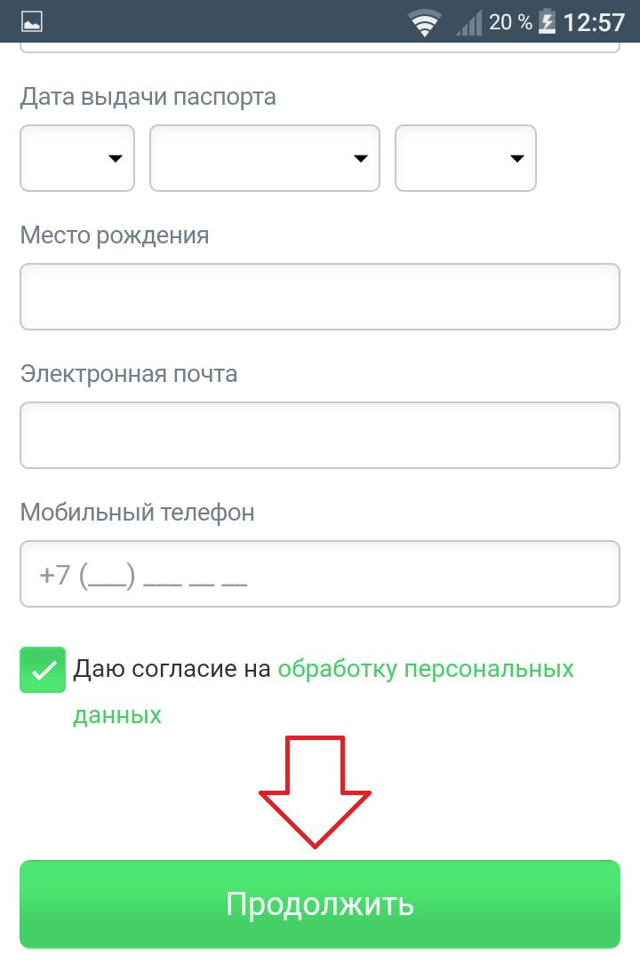 регистрация займа