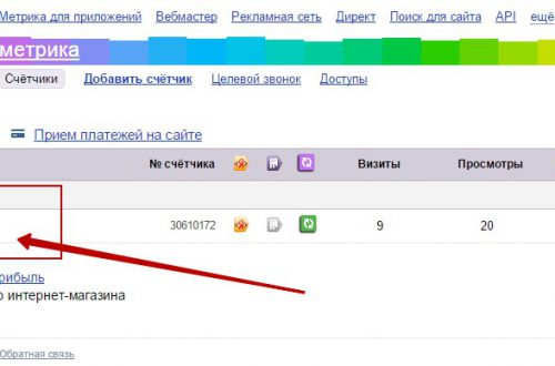 Счётчик посещаемости от Яндекс метрики