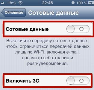 Отключить интернет на айфоне