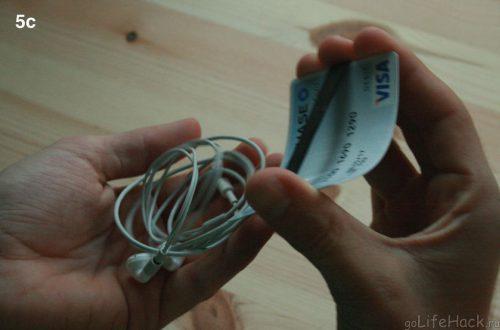 Лайфхак: Хранение наушников с кредиткой и резинкой