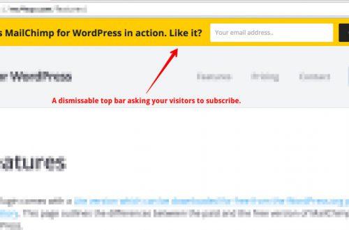 Форма подписки MailChimp в верхнюю панель сайта wordpress top bar